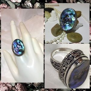 Abalone Sea Shell Gemstone Stamped Artisan Ring